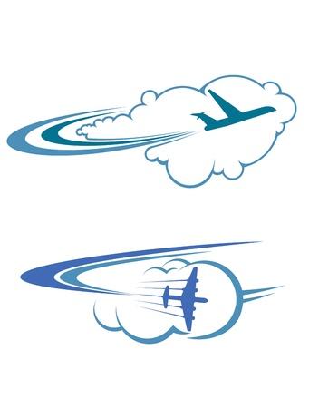 旅行と観光の設計のための空に飛行機を飛んでいます。