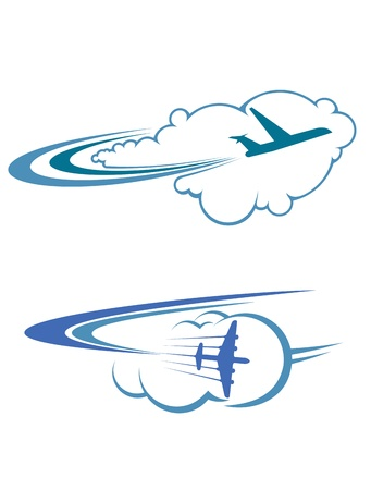 Flying airplanes in sky for travel and tourism design