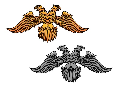 nobility symbol: Double eagle mascot for heraldry or tattoo design Illustration