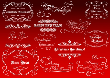 happy new year text: Calligraphic elements for Christmas and New Year holidays