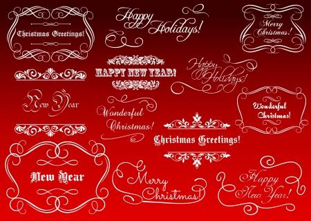 christmas template: Elementi calligrafici per Natale e Capodanno