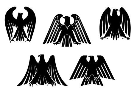 Silhouettes of black eagles for heraldry and tattoo design