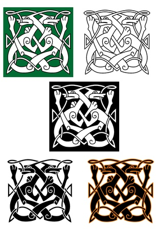 Abstract celtic pattern with animal and ornament elements Stock Vector - 21755992