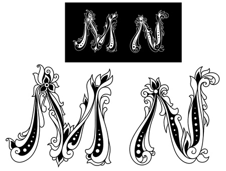 Capital letters M and N in retro floral style
