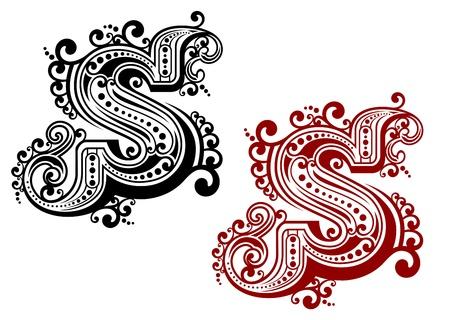 capitel: Retro letra mayúscula S en el estilo de diseño de la vendimia aislados en el fondo blanco