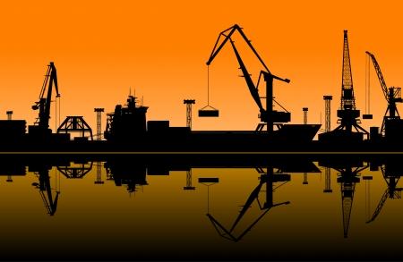 貨物産業デザインの海の港で働くクレーン