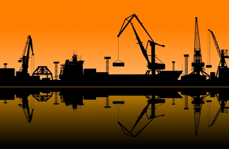 import trade: Working cranes in sea port for cargo industry design Illustration