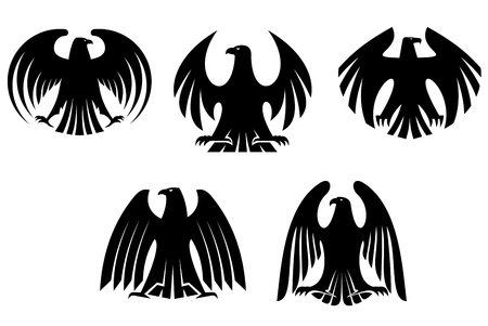Black heraldic eagles for tattoo and heraldry design Vector