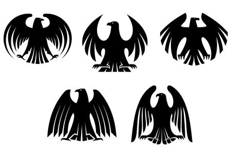 black hawk: Black heraldic eagles for tattoo and heraldry design