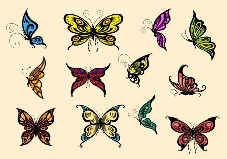 Ensemble de butterflyes colorés isolé sur fond Banque d'images - 21770284