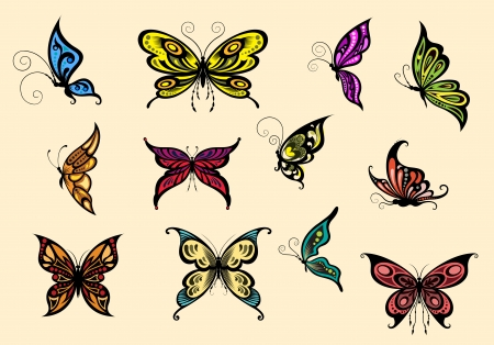 Set of colorful butterflyes isolated on background Vector
