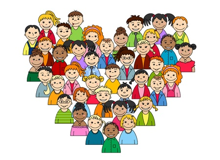 family unity: Heart of children and teenagers for love or friendship concept