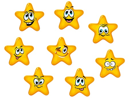 surprise face: Yellow stars with emotional faces in cartoon style Illustration