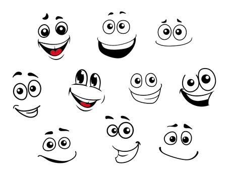 Funny cartoon emotional faces set for comics design Illustration