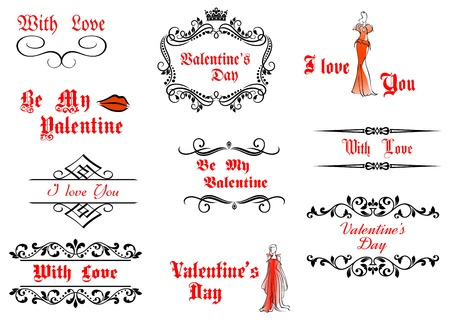 Valentines Day messages and headlines set with calligraphic elements Vector