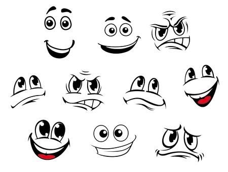 cara sonriente: Caras de la historieta fijó con emociones diferentes para cómics