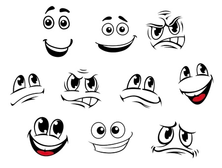 Cartoon faces set with different emotions for comics Ilustração