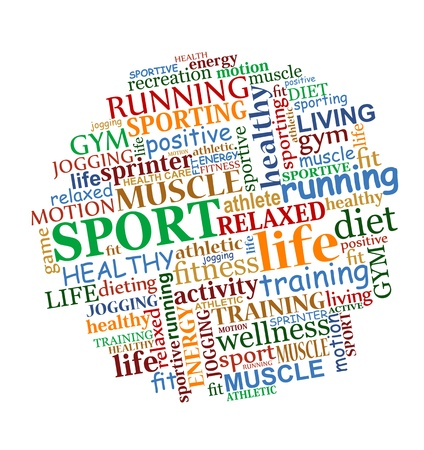 health and fitness: Sports tag cloud for web and another design Illustration