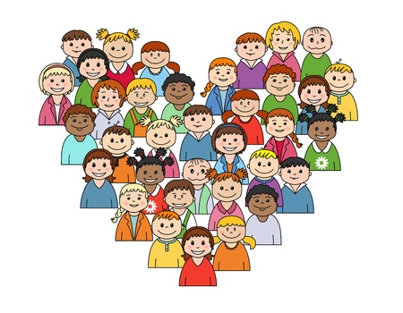 child's: Heart shape with childs for love and friendship concept design Illustration
