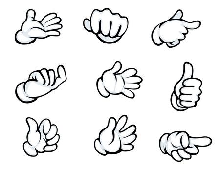 Set van handgebaren in cartoon-stijl voor strips ontwerp