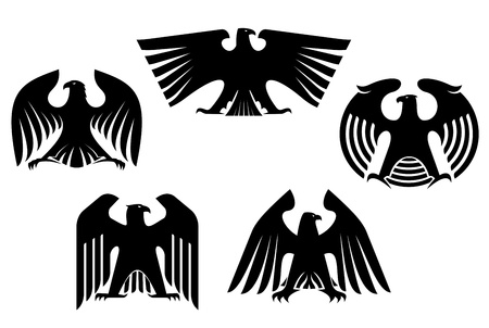 Majestic and powerful heraldic eagles set for tattoo or heraldry design Vector