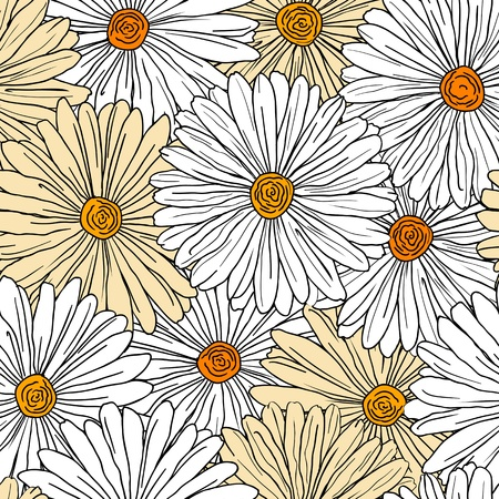 Camomiles seamless background for pattern or wallpaper design Vector