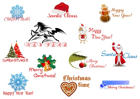 red horse: Symbols of Christmas and New Year for holiday design