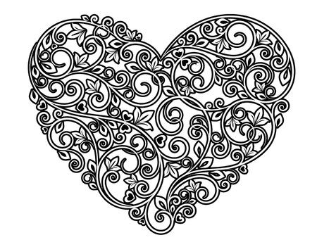 schlauch herz: Floral Herz mit Zierelemente auf weißem Hintergrund Illustration