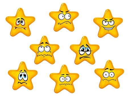 star mascot: Yellow stars set with negative emotions for comics design