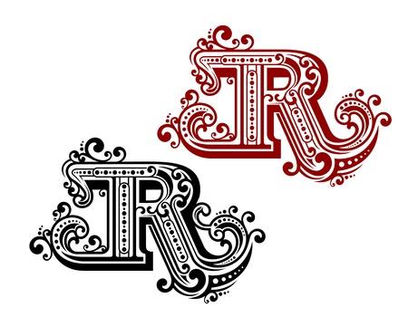 capitel: R carta de la vendimia con elementos ornamentales de estilo retro Vectores
