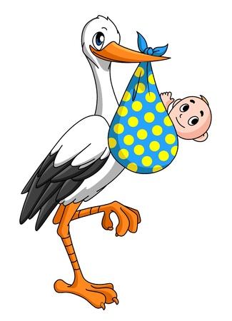 Cigogne avec le bébé nouveau-né pour le concept de l'accouchement