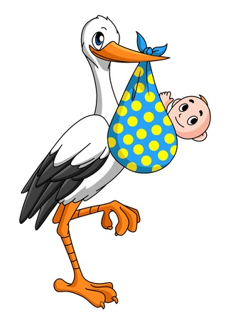 baby delivery: Stork with newborn baby for childbirth concept
