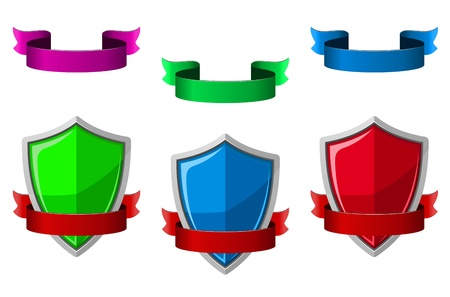 Security icons with shields and ribbons for internet safety design Stock Vector - 21923160