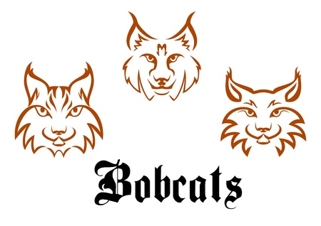 ominous: Bobcats and lynxs for mascot or tattoo design Illustration