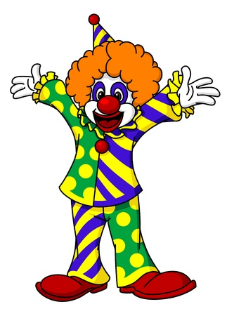 buffoon: Circus clown in cartoon style for design