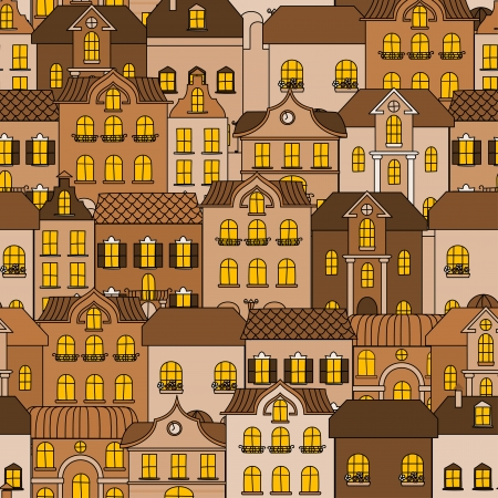 Old town seamless pattern for background or wallpaper design Vector