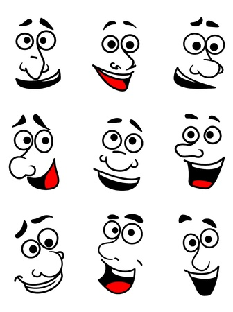 expressive face: Emotional faces set in cartoon comics style for design Illustration