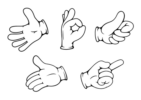 People hand gestures set in cartoon comics style