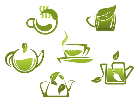 teacups: Green tea symbols and icons for fast food or cafe design Illustration