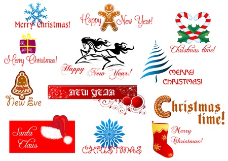 New Year and Chrismas symbols set with holiday scripts Stock Vector - 22068899