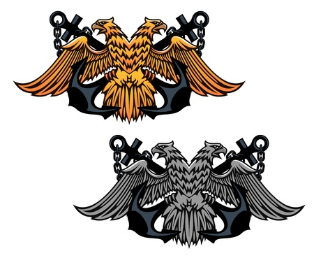 Double head eagle with vintage anchor for heraldry or tattoo design Vector