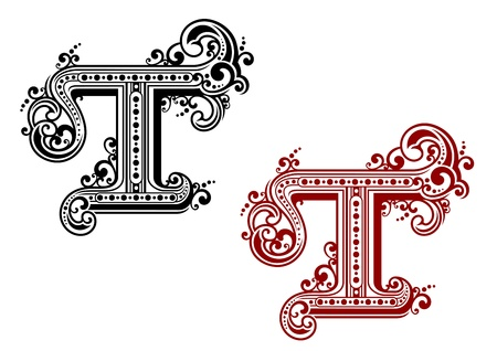 Capital letter T in retro style for design