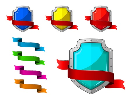 Security icons set with blazons and ribbons for internet design Stock Vector - 22068904