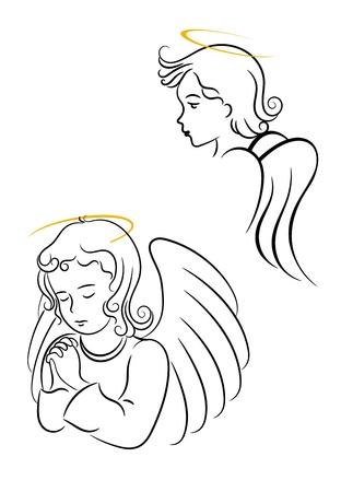 angel de la guarda: Ángeles con alas de religioso y cristiano símbolos de diseño