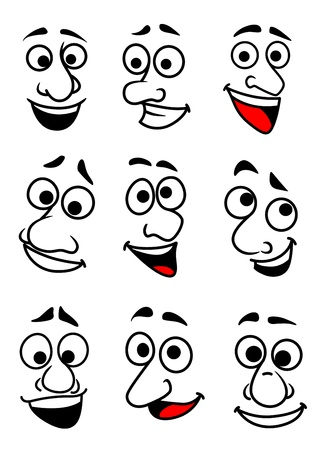 sneer: Set of funny comic faces in cartoon style for design