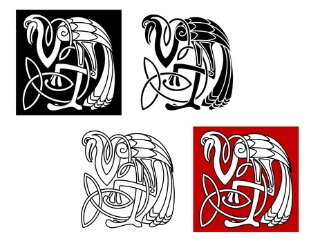 Heron bird in celtic style for ornate and design Vector