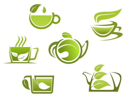 Herbal drinks and tea symbols for fast food design  Vector