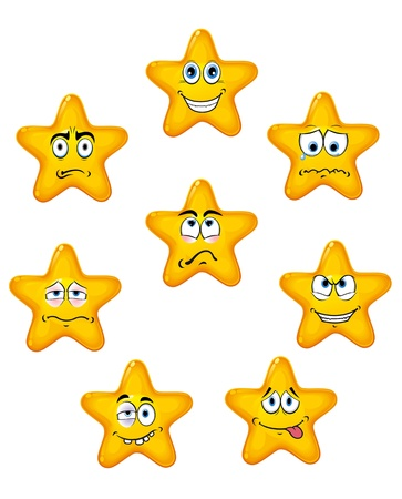 expressive face: Yellow star icons with different emotions in cartoon style