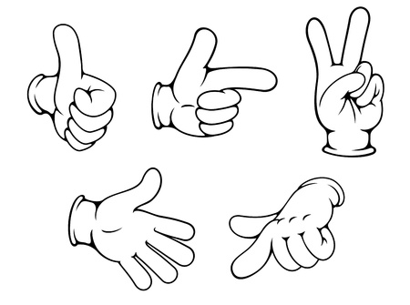 knuckle: Set of positive hands gestures in cartoon style Illustration