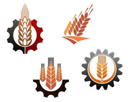Symbole rolnictwa zestaw z uszami zbóż i narzędzi maszynowych